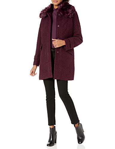 Jessica Simpson Women's Fashion Outerwear Jacket, Boucle Wool Merlot, L