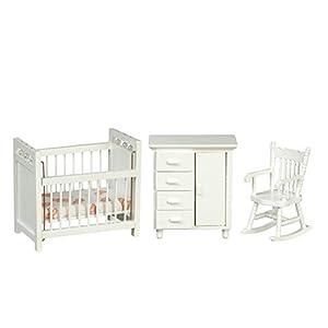 Dolls House White Nursery Furniture Set Miniature 3 Piece Baby Room 1:12 Scale