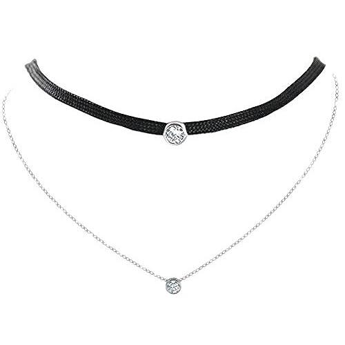 e84fb8609c Plata de Ley 925 negro collar de gargantilla de lazo doble capas En venta
