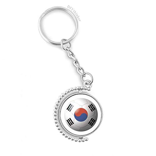 Korea National Flag Soccer Football Rotatable Key Chain Ring Keyholder