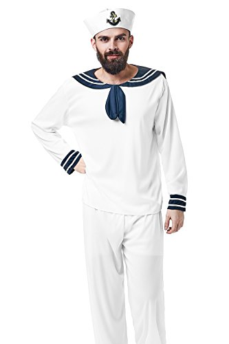 Festival Costume Male (Adult Men Shipmate Costume Seaman Uniform Sailor Suit Mariner Dress Up Role Play (Medium/Large, White))