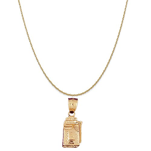 (14k Yellow Gold Slot Machine Pendant on a 14K Yellow Gold Rope Chain Necklace, 18