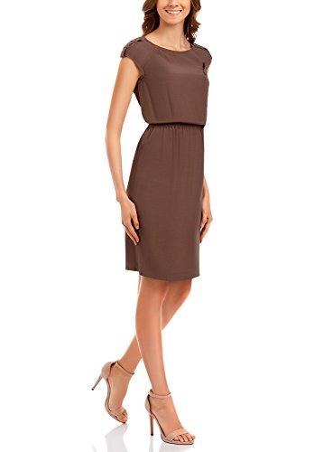 oodji Collection Mujer Vestido de Viscosa Marrón (3700N)