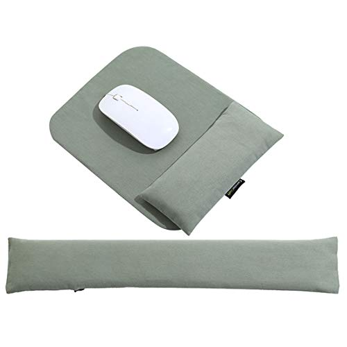 Mouse Pad Wrist Support Set - Handmade Keyboard Wrist Rest Bean Bag with Ergobeads, Wrist Pain Relief for Easy Typing, PC, Laptop, Skin-Friendly & Breathable, Washable & Durable, XL, Army Green
