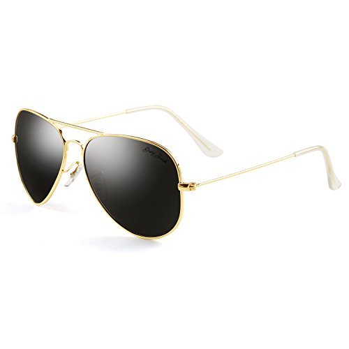 GREY JACK Polarized Classic Aviator Sunglasses Military Style for Men Women Gold Frame Black Lens - Large Sunglasses Best Face For