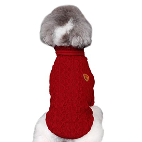 Alfie Pet by Petoga Couture - Jorgie Cable Knit Sweater - Color: Red, Size: Small ()