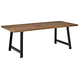 """Amazon Brand – Rivet Rustic Industrial Wood and Metal Dining Room Kitchen Table, 86.6""""L, Fir"""
