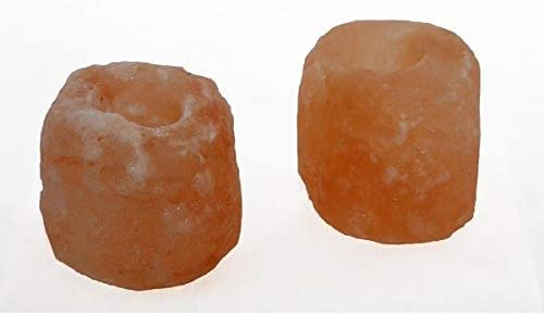 Ambar Lot de 2 bougeoirs en cristal naturel sel de roche de lHimalaya