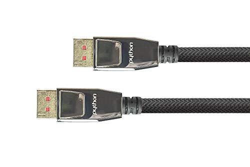 PYTHON Series PREMIUM DisplayPort 1.4 Kabel - 8K @60 Hz / 4K @240 Hz - Vollmetallstecker mit Verriegelung, vergoldete Stecker, 3-fach Schirmung - KUPFERLEITER - Nylongeflecht - SCHWARZ -  2 m