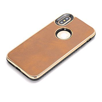 iPhone X Protective Case,5.8'' iPhone X Cover, Sammid Lightweight Slim Fit Dual Layer Protective Case overase for iPhone X - Light Brown