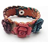 bijoucolor - bracelet cuir large avec fleur rose, bleu, marron - sd-002-169-12-rose-bleu-marron