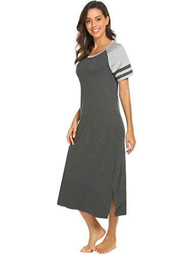 c748591db HOTOUCH Sleepwear Women s Nightshirt Short Sleeve Long Nightgown Scoopneck  Sleep Tee Dress S-XXL