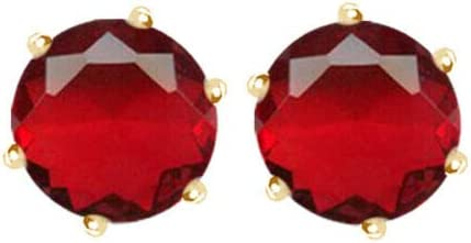 GM Jewelry Unisex/Women's Prong Set Cubic Zirconia Stud Gold Plated Stainless Steel Earrings (8mm) - Yellow/Red