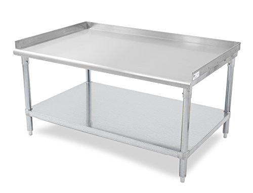 John Boos E Series Stainless Steel 430 Equipment Stand with 1.5 inch Rear and Side Risers, Adjustable Galvanized Undershelf, 48'' Length x 30'' Width by John Boos