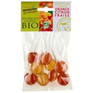Chupetes ecológico, color amarillo/naranja 100 g/fresa ...