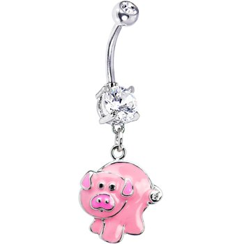 Body Candy Pink Pig Belly Ring