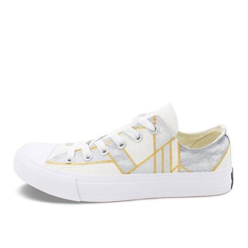 Zapatos de Mujer Summer New Deck Shoes, Zapatos de Lona de Wild Ladies Pintados a Mano, Zapatos Planos de Low-Top con Cordones de los Amantes, adecuados para Caminar, Ocio, al Aire Libre Un