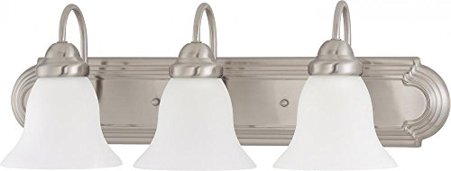 Three Big Shade Light (Nuvo Lighting 60/3279 Three Light Vanity 3, Brushed Nickel/Frosted Glass)