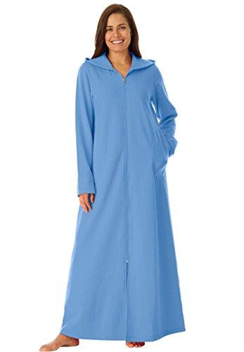Dreams & Co. Women's Plus Size Long Ultra-Soft Fleece Hoodie Robe (Dream Hoody Sweatshirt)