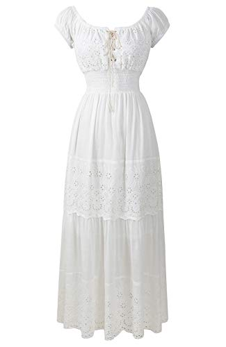 (Renaissance Victorian Medieval Eyelet Off Shoulder Bohemian Lace Up Peasant Gown Maxi Dress (Regular, Cream) )