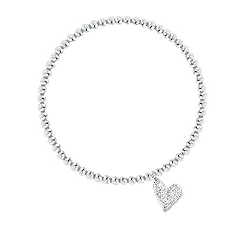 METTU Handmade Elastic String Adjustable Micro-inserts Zirconia Heart Charm 3.5mm Beads Bracelet for Girls Children (Silver)