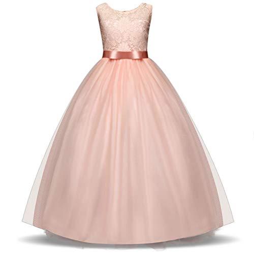 papillon ragazza lunghe pizzo tulle maniche Abito cocktail e in principessa in Oudan con Vestito Rosa da da da 6IYwIaxg