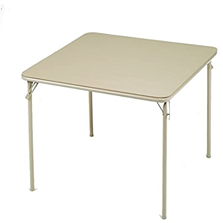 Meco Square Folding Table 34 By 34 Inch Buff