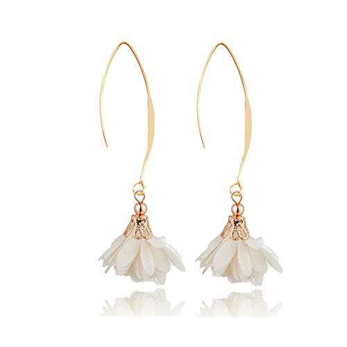 (JUESJ Elegant Long Fabric Flower Pendant Ear Hook Earrings for Women Girls Party Gifts (White))