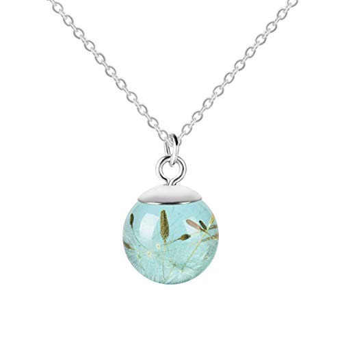 (Round Shape Dried Pressed Dandelion Pendant Resin Necklace,White Chain,23.6