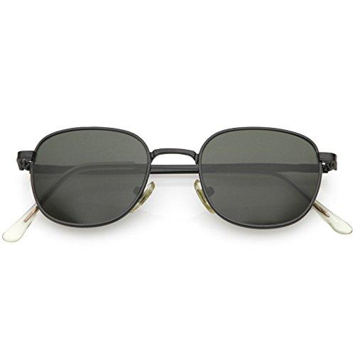 sunglassLA - True Vintage Metal Square Sunglasses For Men Women Slim Metal Arms 46mm (Black Black/Green)