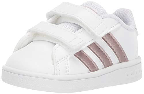 adidas Baby Grand Court Sneaker, White/Copper Metallic/Glow Pink, 4K M US Toddler (Adidas Neo V Jog Infant & Toddler Sneaker)