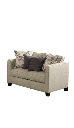 Furniture of America Kallisto Chenille Upholstered Love Seat, Gun Smoke