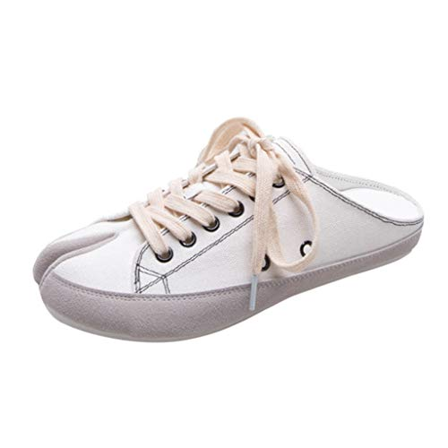 JJLIKER Women's Canvas Low Top Sneaker Lace-up Classic Casual Shoes Summer Fashion Shoe Black and White