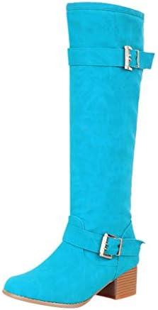 [Mifazhu] 長靴 レディースファッション 無地 膝が厚く暖かみのあるキャンディーカラーのバックル、ロングブーツのカジュアルシューズ柔らかい 美脚効果最高 滑り止め 防水 保温 防寒 脚長 足細 通学 旅行