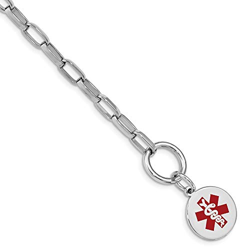 925 Sterling Silver Engraveable Enamel Disc Medical Alert Id Bracelet 7.75 Inch Fine Jewelry Gifts For Women For Her