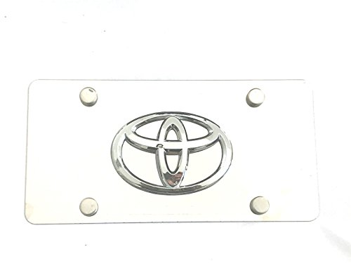 Stainless Steel Logo Emblem - Woowin 3D Toyota Logo Emblem Stainless Steel License Metal Plate Tag With Anti-Theft Screws Caps 4 Holes For Toyota (Chrome)
