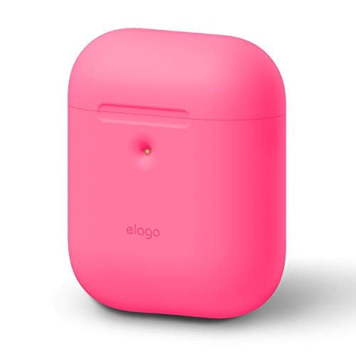 elago AirPods Silicone Case [Neon Hot Pink] - [Front LED Visible][Supports Wireless Charging][Extra Protection][2019 Latest Model] - for AirPods 2 Wireless Charging Case (Neon Ipod Cases)