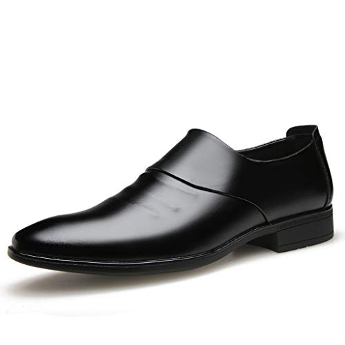 Leather Dress Shoes Slip on Oxfords for Men AopnHQ Oxford Loafer Dress Shoes-Black Brown Leather Business Formal Shoes