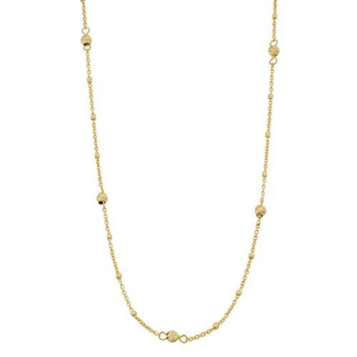 Kooljewelry 14k Yellow Gold Cube and Bead Station Necklace (18 inch)