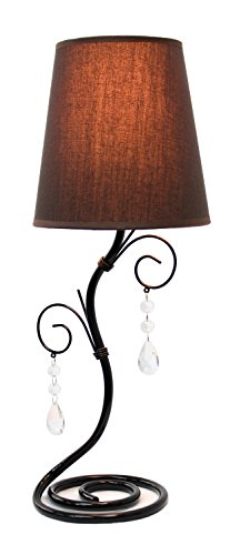 simple designs lt2010bwn twisted vine table lamp with fabric shade and hanging beads brown - Bedroom Table Lamps