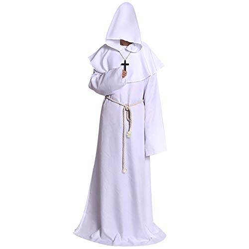 Halloween Costume Medieval Priest Robes Monk Robe-Hooded Cape