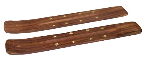 Cotton Craft - 2 Pack - Wood Incense Burner Holder with Brass Inlays - Handmade from Solid Wood and Brass - Size - 10 x 1.4 Brass Inlay Stick Incense Burner