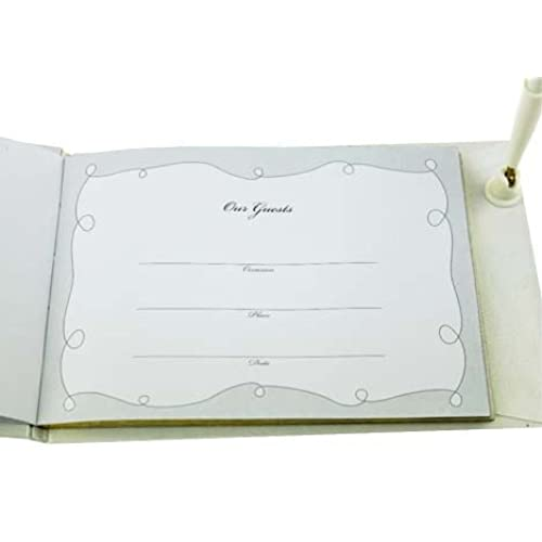 6f583475738b White Guest Book with Gold Letters and sign in Pen (1 piece) durable ...