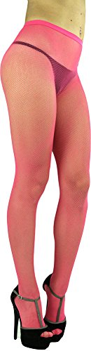 ToBeInStyle Women's Fishnet Seamless Full Footed Panty Hose Tights Hosiery - Hot Pink - One Size: (Pink Spandex Sheer Stockings)