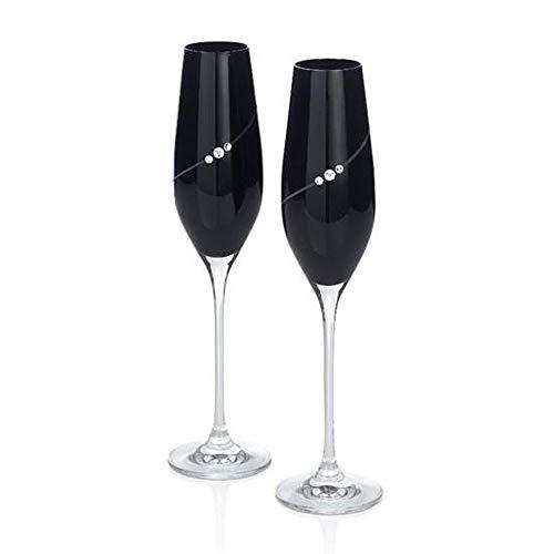 Flutes Stem Black (Colored Glass Champagne Flutes with Swarovski Crystals, Pair (Black))