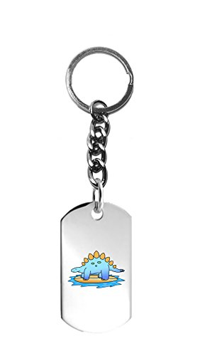 Hat Shark Stegosaurus Dinosaur Surfing on Surf Board the Ocean Fun Cute - 3D Color Printed Metal Ring Key Chain Keychain