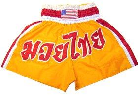 タイ式Fight Shorts inイエロー/レッド  Medium