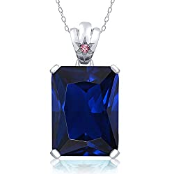 Blue Sapphire Pink Lab Grown Diamond Pendant
