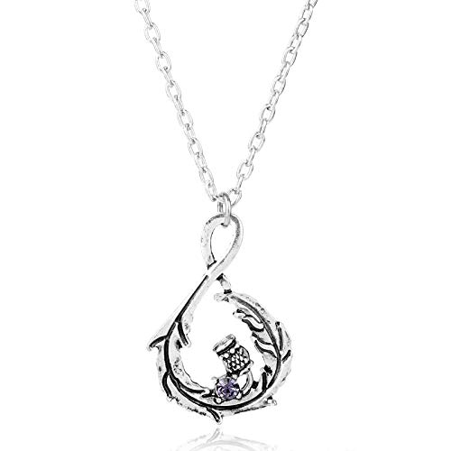 - FITIONS - Women's Outlander Scotland Thistle Gaelic Celtic Crystal Antique Silver Scottish Necklace Flower Charm Pendant