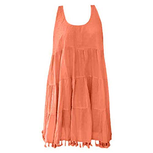 Rockia Women's Sleeveless Blouse, Fashion O-Neck Solid Pleat Sleeveless TasselsTop Shirt Tunic Top Orange